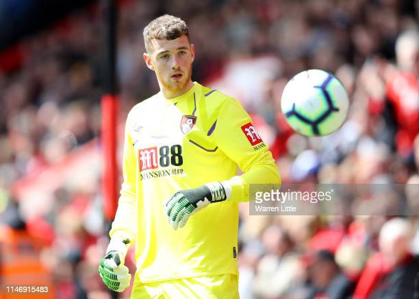 Mark Travers of AFC Bournemouth in action during the Premier League match between AFC Bournemouth and Tottenham Hotspur at Vitality Stadium on May 04...