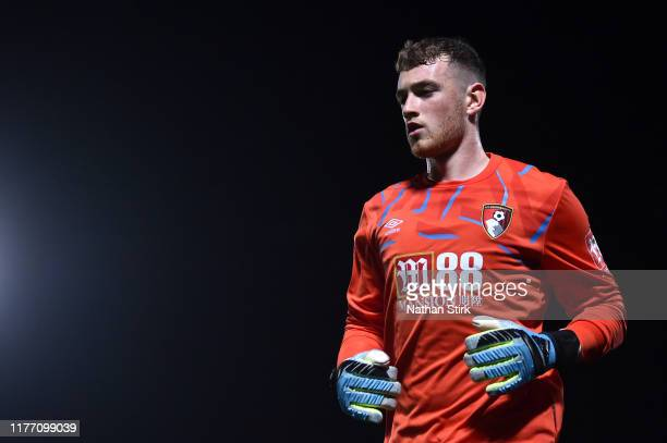 Mark Travers of AFC Bournemouth looks on during the Carabao Cup Third Round match between Burton Albion and AFC Bournemouth at Pirelli Stadium on...