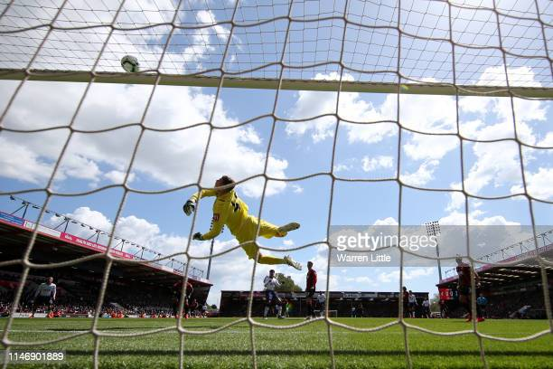 Mark Travers of AFC Bournemouth makes a save during the Premier League match between AFC Bournemouth and Tottenham Hotspur at Vitality Stadium on May...