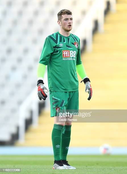 Mark Travers of AFC Bournemouth reacts during a preseason friendly match between Girona and AFC Bournemouth at Estadi Olimpic Lluis Companys on July...