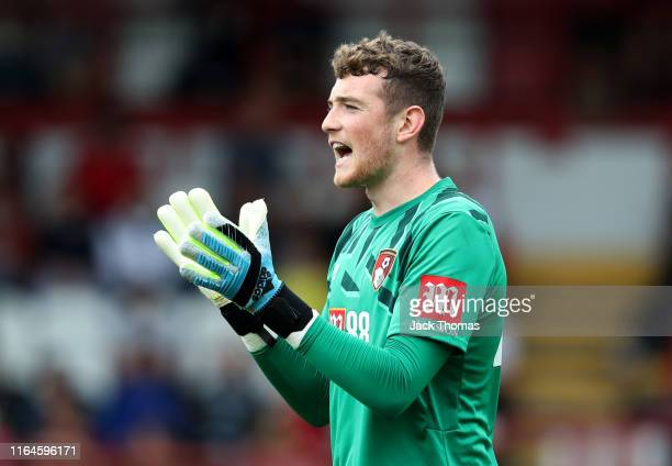 Mark Travers of AFC Bournemouth reacts during the PreSeason Friendly match between Brentford and AFC Bournemouth at Griffin Park on July 27 2019 in...