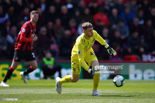Mark Travers of AFC Bournemouth releases the ball during the Premier League match between AFC Bournemouth and Tottenham Hotspur at Vitality Stadium...