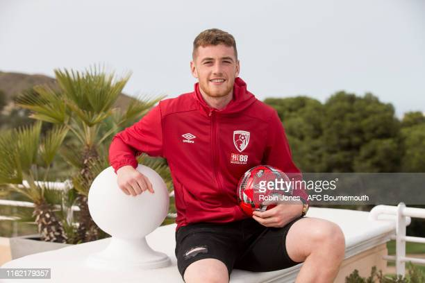 Mark Travers of AFC Bournemouth signs a new long term contract to stay at the club whilst on preseason training at La Manga Club on July 12 2019 in...