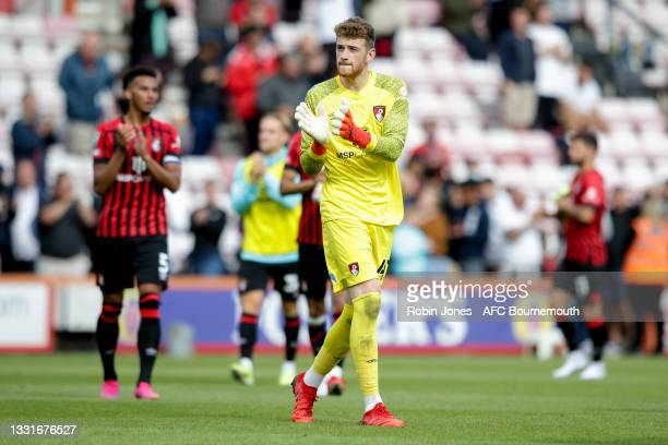 Mark Travers of Bournemouth after his sides 5-0 win during the Carabao Cup 1st Round match between AFC Bournemouth and MK Dons at Vitality Stadium on...