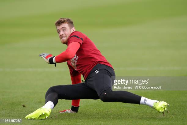 Mark Travers of Bournemouth during a preseason training session at Vitality Stadium on July 25 2019 in Bournemouth England