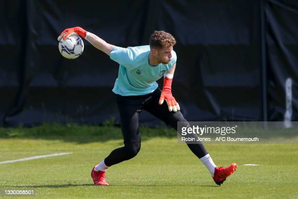 Mark Travers of Bournemouth during a pre-season training session at Vitality Stadium on July 22, 2021 in Bournemouth, England.