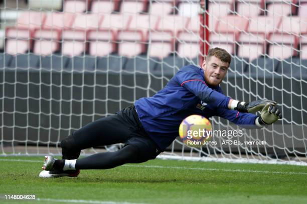 Mark Travers of Bournemouth during a training session at the Vitality Stadium on May 09 2019 in Bournemouth England