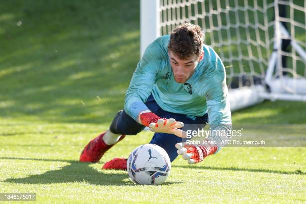 Mark Travers of Bournemouth during a training session at the Vitality Stadium on October 14, 2021 in Bournemouth, England.