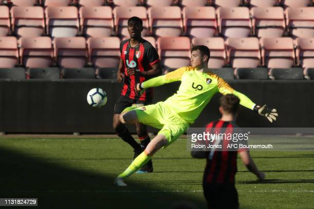 Mark Travers of Bournemouth during the Premier League Cup between AFC Bournemouth U21 and Liverpool U21 at Vitality Stadium on February 24 2019 in...