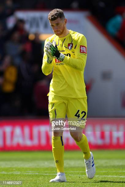 Mark Travers of Bournemouth during the Premier League match between AFC Bournemouth and Tottenham Hotspur at Vitality Stadium on May 04 2019 in...