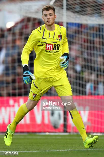 Mark Travers of Bournemouth during the PreSeason Friendly match between AFC Bournemouth and SS Lazio at Vitality Stadium on August 02 2019 in...