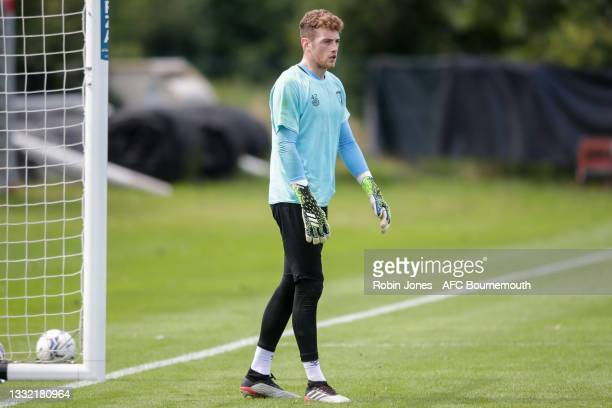 Mark Travers of Bournemouth looks on during a pre-season training session at Vitality stadium on August 03, 2021 in Bournemouth, England.