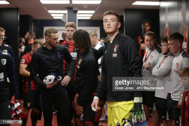 Mark Travers of Bournemouth who made his professional debut for the Cherries during the Premier League match between AFC Bournemouth and Tottenham...