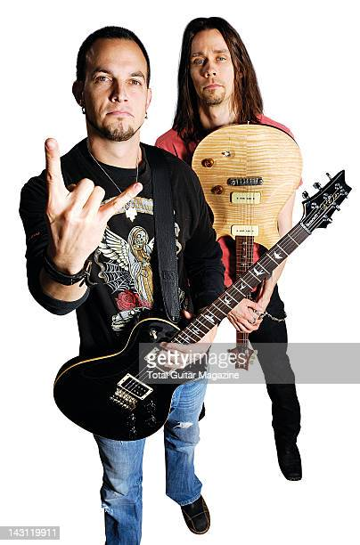This image has been digitally manipulated Mark Tremonti and Myles Kennedy of American hard rock group Alter Bridge taken on September 17 2007