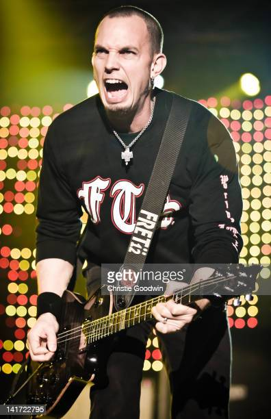 Mark Tremonti of Alter Bridge performs on stage at Wembley Arena on November 29 2011 in London UK