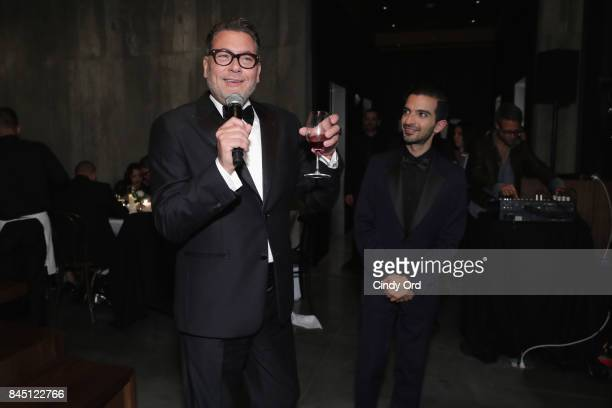 Mark Tritton and Imran Amed speak at the #BoF500 party during New York Fashion Week Spring/Summer 2018 at Public Hotel on September 9 2017 in New...