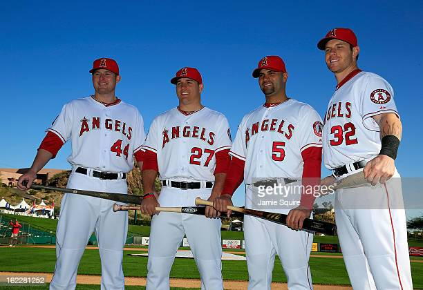 Mark Trumbo, Mike Trout, Albert Pujols, and Josh Hamilton pose during the Los Angeles Angels of Anaheim Photo Day on February 21, 2013 in Tempe,...