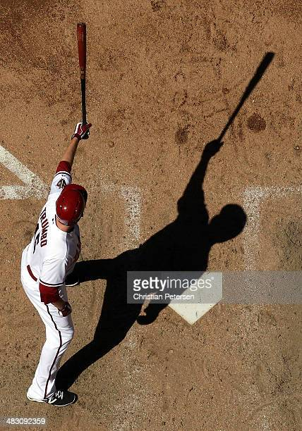 Mark Trumbo of the Arizona Diamondbacks bats against the San Francisco Giants during the MLB game at Chase Field on April 3 2014 in Phoenix Arizona...