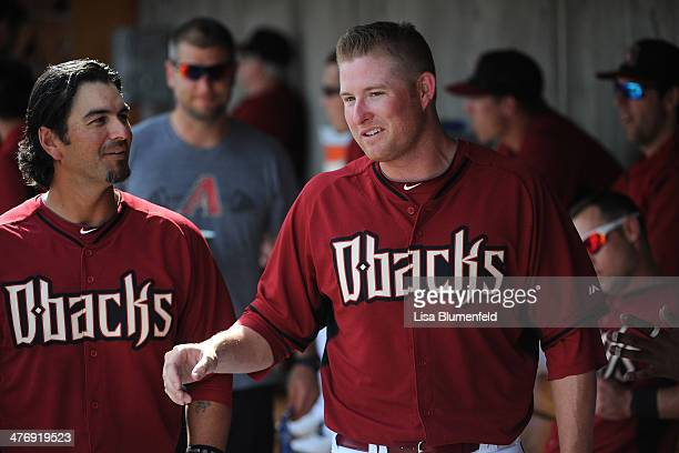 Mark Trumbo of the Arizona Diamondbacks walks in the dugout during the game against the Kansas City Royals at Salt River Fields at Talking Stick on...