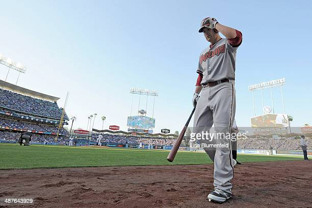 Mark Trumbo of the Arizona Diamondbacks walks on deck during the game against the Los Angeles Dodgers at Dodger Stadium on April 19 2014 in Los...