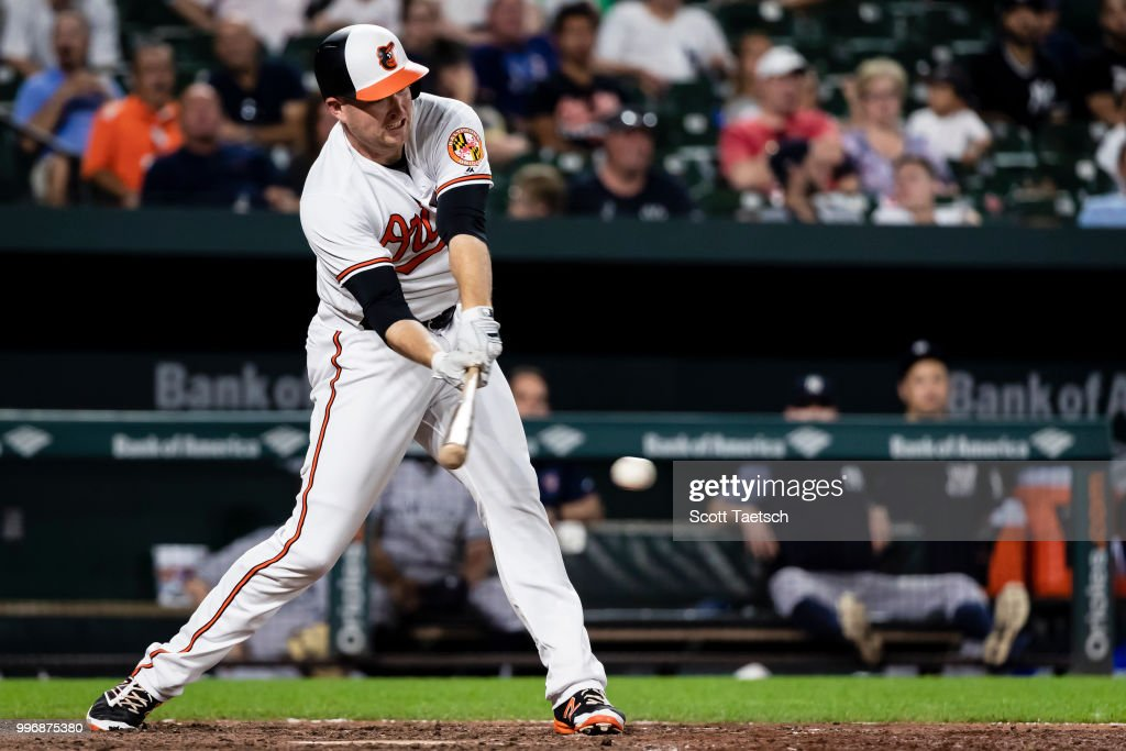Mark Trumbo #45 of the Baltimore Orioles at bat against the New York Yankees during the ninth inning at Oriole Park at Camden Yards on July 11, 2018 in Baltimore, Maryland.