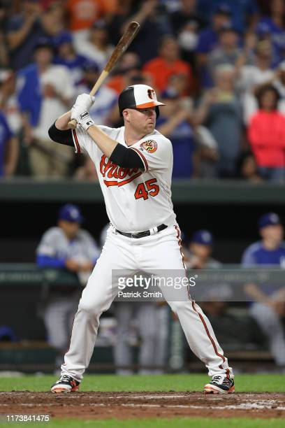 Mark Trumbo of the Baltimore Orioles bats against the Los Angeles Dodgers at Oriole Park at Camden Yards on September 10, 2019 in Baltimore, Maryland.