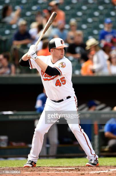 Mark Trumbo of the Baltimore Orioles bats against the Texas Rangers at Oriole Park at Camden Yards on September 8, 2019 in Baltimore, Maryland.