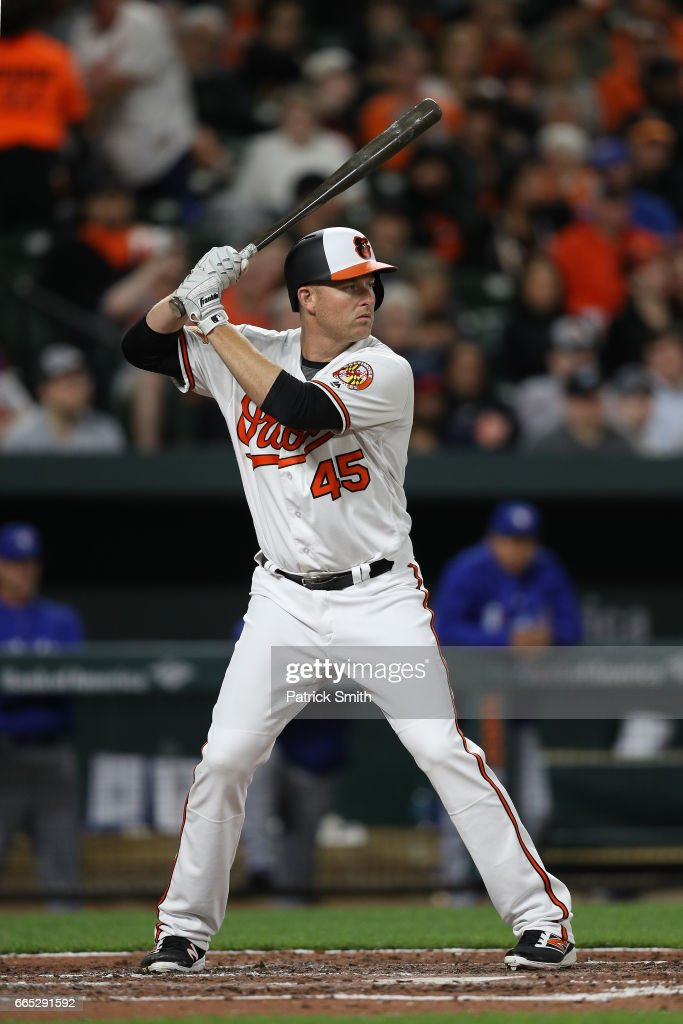 Mark Trumbo #45 of the Baltimore Orioles bats against the Toronto Blue Jays at Oriole Park at Camden Yards on April 5, 2017 in Baltimore, Maryland.