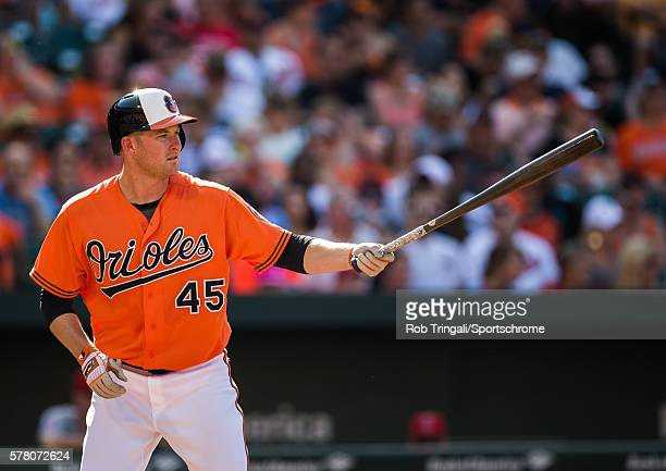 Mark Trumbo of the Baltimore Orioles bats during the game against the Los Angeles Angels at Oriole Park at Camden Yards on July 9 2016 in Baltimore...