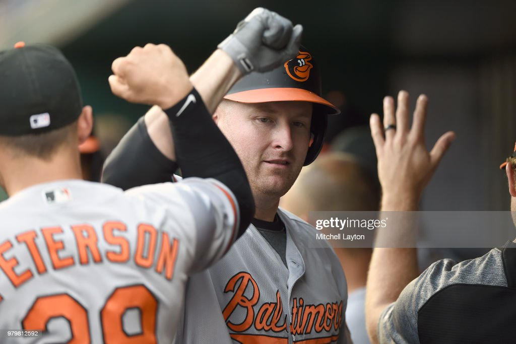 Mark Trumbo #45 of the Baltimore Orioles celebrates a two run home run in the second inning during a baseball game against the Washington Nationals at Nationals Park on June 20, 2018 in Washington, DC.