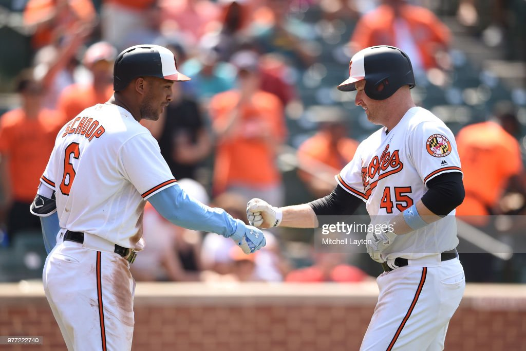 Mark Trumbo #45 of the Baltimore Orioles celebrates hitting a solo home run in seventh inning with Jonathan Schoop #6 during a baseball game against the Miami Marlins at Oriole Park at Camden Yards on June 17, 2018 in Baltimore, Maryland.