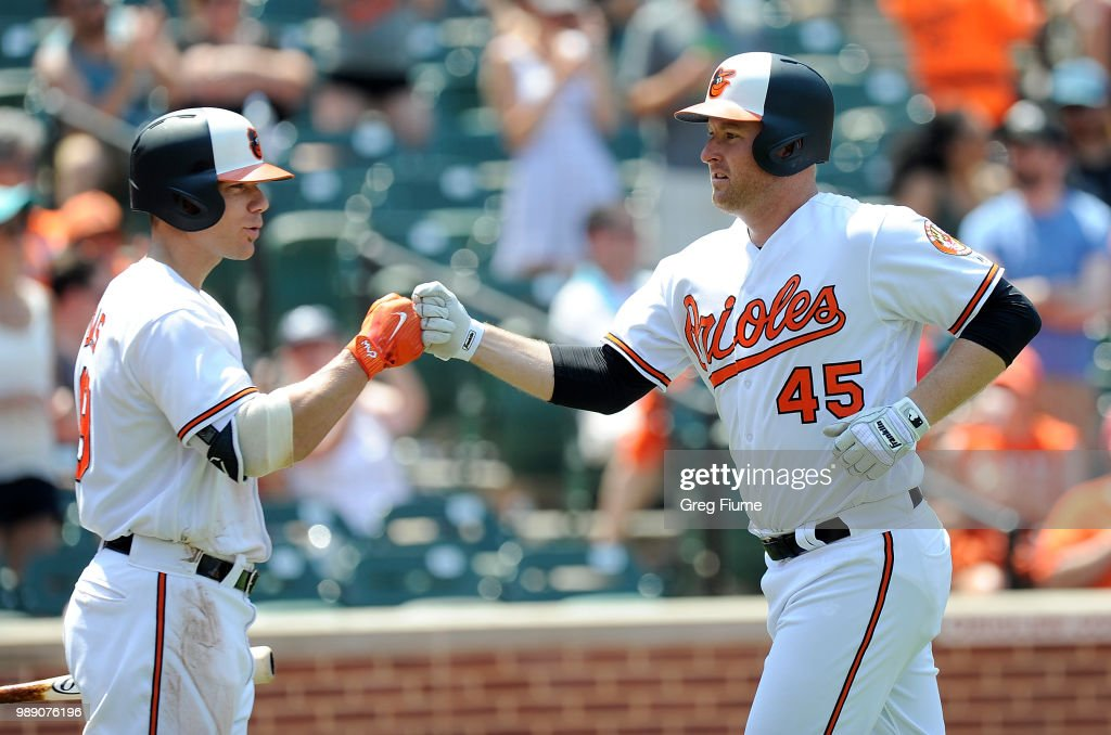 Mark Trumbo #45 of the Baltimore Orioles celebrates with Chris Davis #19 after hitting a home run in the fifth inning against the Los Angeles Angels at Oriole Park at Camden Yards on July 1, 2018 in Baltimore, Maryland.