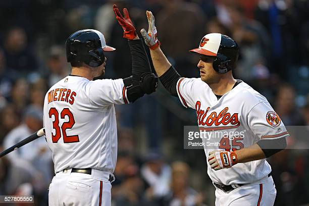 Mark Trumbo of the Baltimore Orioles celebrates with teammate Matt Wieters after hitting a home run in the second inning against the New York Yankees...
