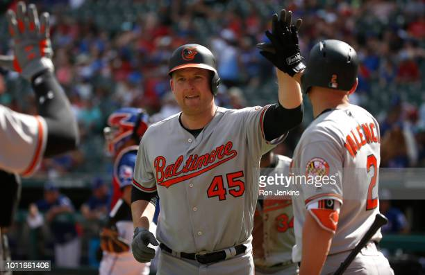 Mark Trumbo of the Baltimore Orioles celebrates with teammates after hitting his second home run of the game against the Texas Rangers during the...