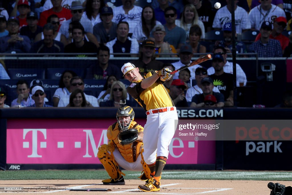 Mark Trumbo #45 of the Baltimore Orioles competes in the T-Mobile Home Run Derby at PETCO Park on July 11, 2016 in San Diego, California.