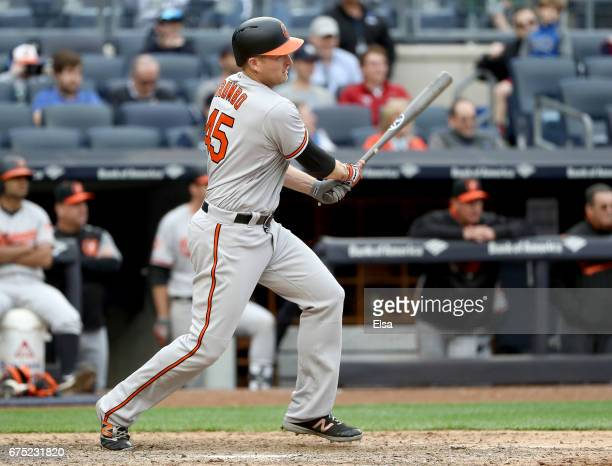 Mark Trumbo of the Baltimore Orioles drives in the game winning run in the 11th inning against the New York Yankees on April 30 2017 at Yankee...