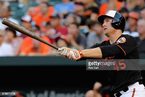 Mark Trumbo of the Baltimore Orioles follows his three RBI home run against the Cleveland Indians in the first inning at Oriole Park at Camden Yards...