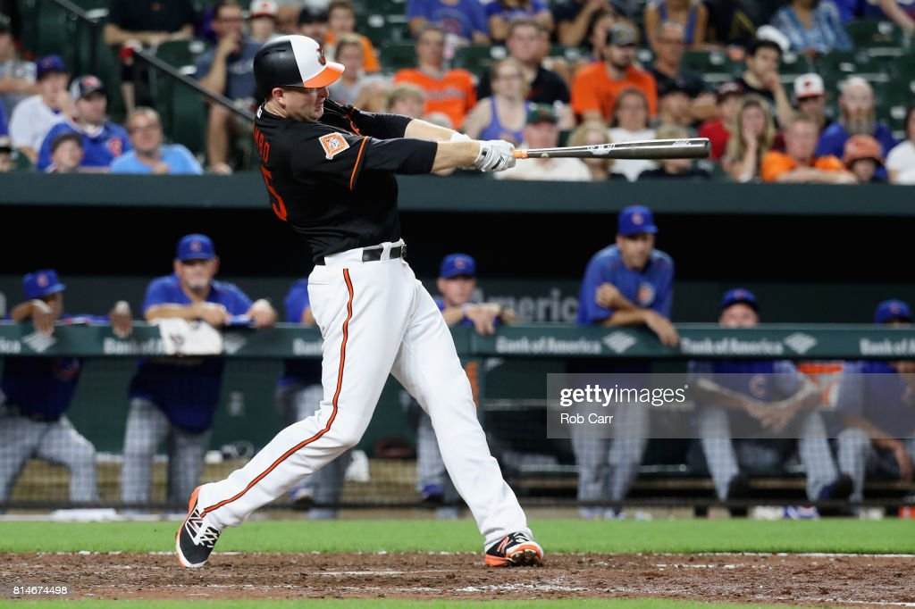 Mark Trumbo #45 of the Baltimore Orioles follows his two run home run against the Chicago Cubs in the eighth inning at Oriole Park at Camden Yards on July 14, 2017 in Baltimore, Maryland.