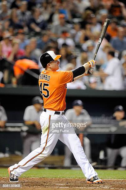 Mark Trumbo of the Baltimore Orioles hits a home run in the seventh inning against the New York Yankees at Oriole Park at Camden Yards on June 4 2016...