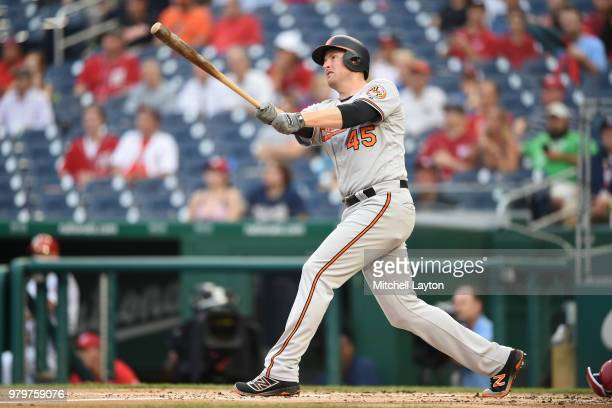 Mark Trumbo of the Baltimore Orioles hits a two run home run in the second inning during a baseball game against the Washington Nationals at...