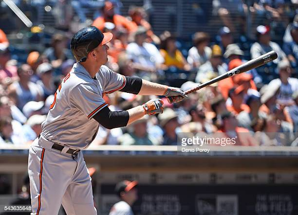 Mark Trumbo of the Baltimore Orioles hits a tworun home run during the fourth inning of a baseball game against the San Diego Padres at PETCO Park on...