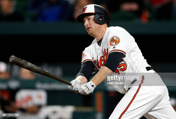 Mark Trumbo of the Baltimore Orioles hits an RBI walkoff single to defeat the Washington Nationals 54 in the 12th inning at Oriole Park at Camden...