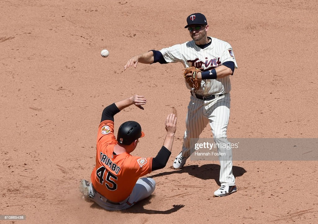 Mark Trumbo #45 of the Baltimore Orioles is out at second base as Brian Dozier #2 of the Minnesota Twins attempts to turn a double play during the sixth inning of the game on July 8, 2017 at Target Field in Minneapolis, Minnesota. The Orioles defeated the Twins 5-1.