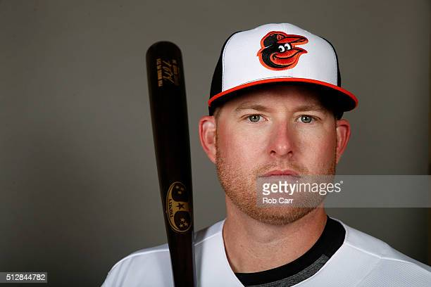 Mark Trumbo of the Baltimore Orioles poses during photo day at Ed Smith Stadium on February 28 2016 in Sarasota Florida