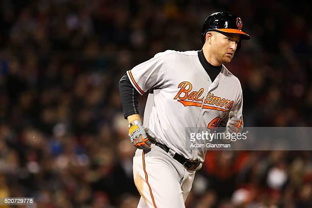 Mark Trumbo of the Baltimore Orioles rounds the bases after he hit a tworun home run in the sixth inning during the game against the Boston Red Sox...