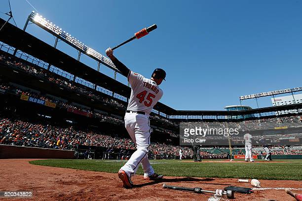 Mark Trumbo of the Baltimore Orioles waits to bat against the Tampa Bay Rays at Oriole Park at Camden Yards on April 10 2016 in Baltimore Maryland