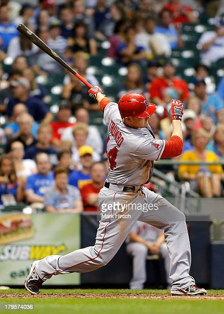 Mark Trumbo of the Los Angeles Angels of Anaheim bats against the Milwaukee Brewers during their game at Miller Park on August 31 2013 in Milwaukee...