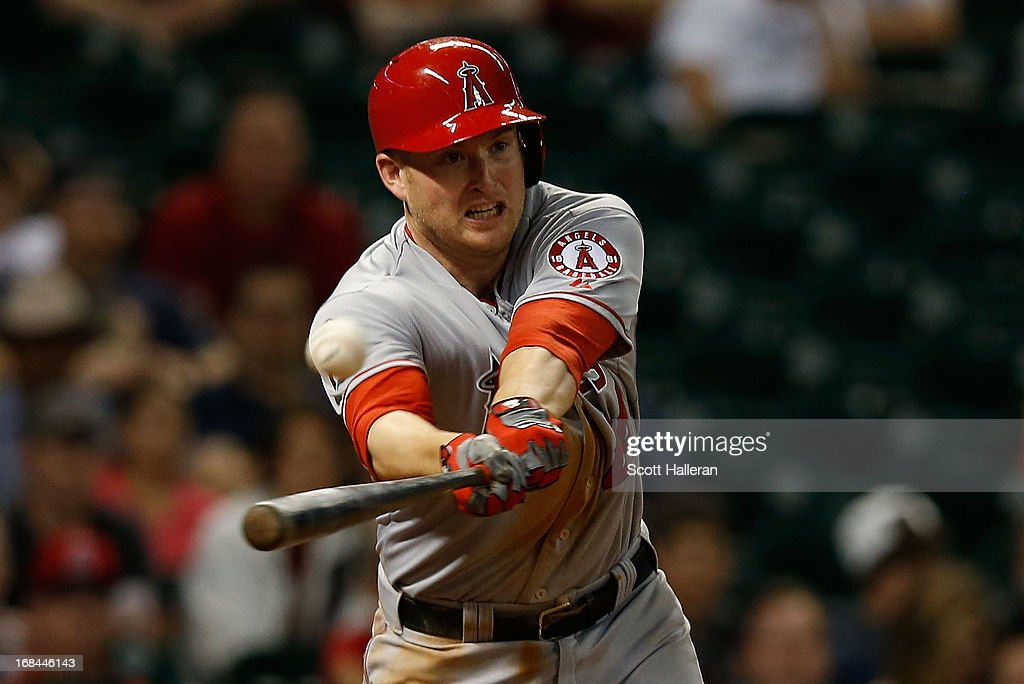 Mark Trumbo #44 of the Los Angeles Angels of Anaheim hits a two-run double to right field during the eighth inning against the Houston Astros at Minute Maid Park on May 9, 2013 in Houston, Texas.