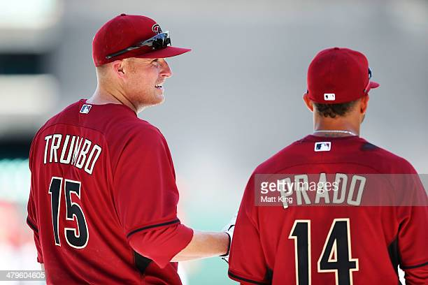 Mark Trumbo speaks to Martin Prado during an Arizona Diamondbacks MLB training session at Sydney Cricket Ground on March 20 2014 in Sydney Australia