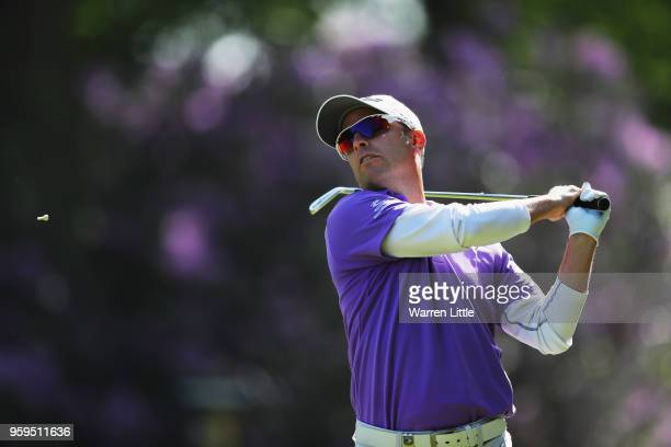 Mark Tullo of Chile tees off the 2nd hole during the first round of the Belgian Knockout at the Rinkven International Golf Club on May 17 2018 in...